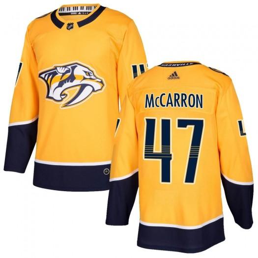Michael McCarron Nashville Predators Men's Adidas Authentic Gold ized Home Jersey