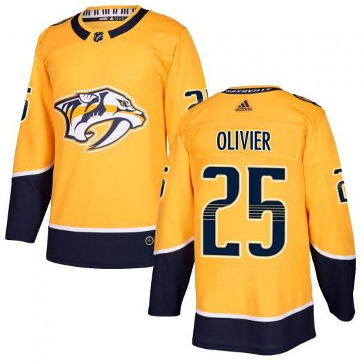 Mathieu Olivier Nashville Predators Men's Adidas Authentic Gold Home Jersey