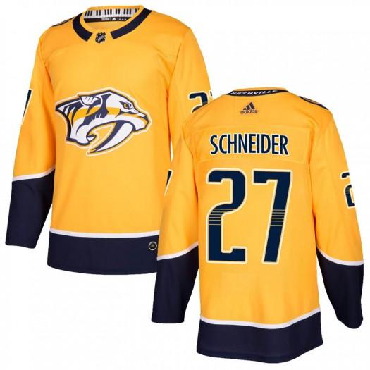 Cole Schneider Nashville Predators Men's Adidas Authentic Gold Home Jersey