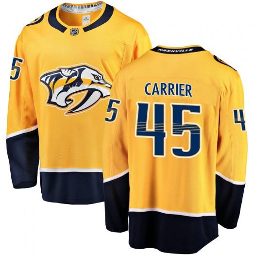 Alexandre Carrier Nashville Predators Youth Fanatics Branded Gold ized Breakaway Home Jersey