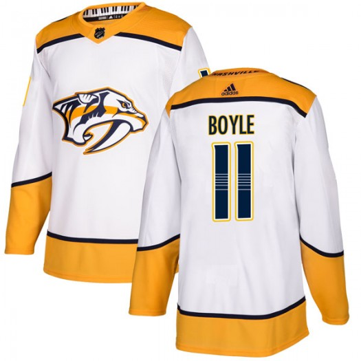 Brian Boyle Nashville Predators Youth Adidas Authentic White Away Jersey