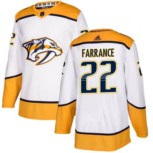 David Farrance Nashville Predators Youth Adidas Authentic White Away Jersey