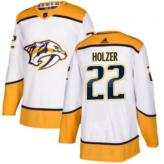 Korbinian Holzer Nashville Predators Youth Adidas Authentic White ized Away Jersey