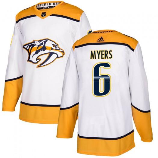 Philippe Myers Nashville Predators Youth Adidas Authentic White Away Jersey