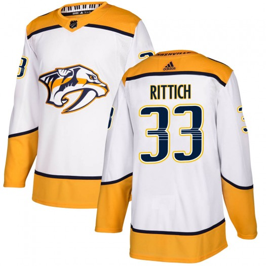 David Rittich Nashville Predators Youth Adidas Authentic White Away Jersey