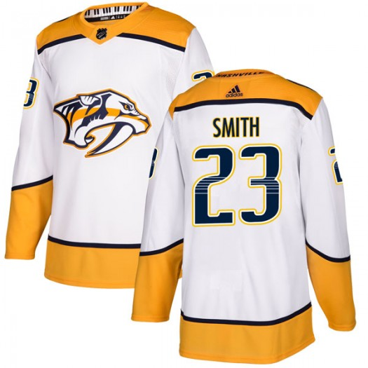 Trevor Smith Nashville Predators Youth Adidas Authentic White Away Jersey