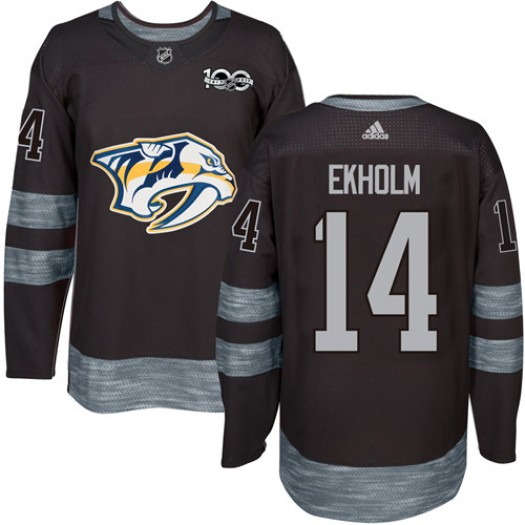 Mattias Ekholm Nashville Predators Men's Adidas Authentic Black 1917-2017 100th Anniversary Jersey