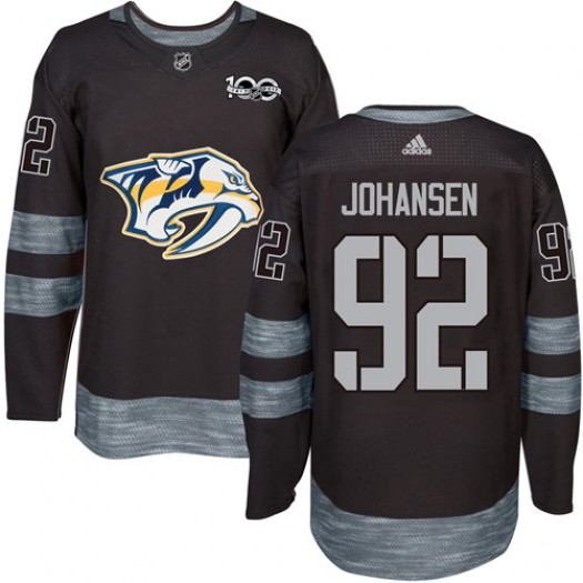 Ryan Johansen Nashville Predators Men's Adidas Authentic Black 1917-2017 100th Anniversary Jersey