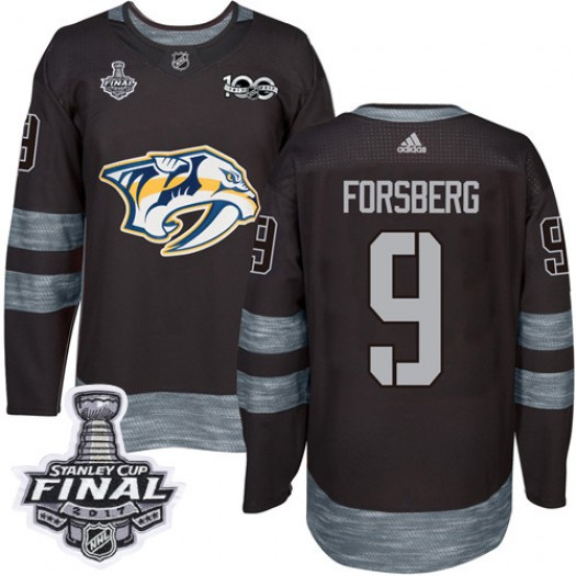 Filip Forsberg Nashville Predators Men's Adidas Authentic Black 1917-2017 100th Anniversary 2017 Stanley Cup Final Jersey