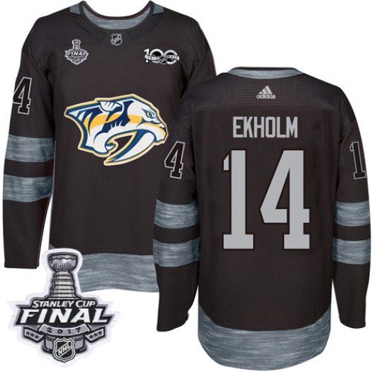Mattias Ekholm Nashville Predators Men's Adidas Authentic Black 1917-2017 100th Anniversary 2017 Stanley Cup Final Jersey
