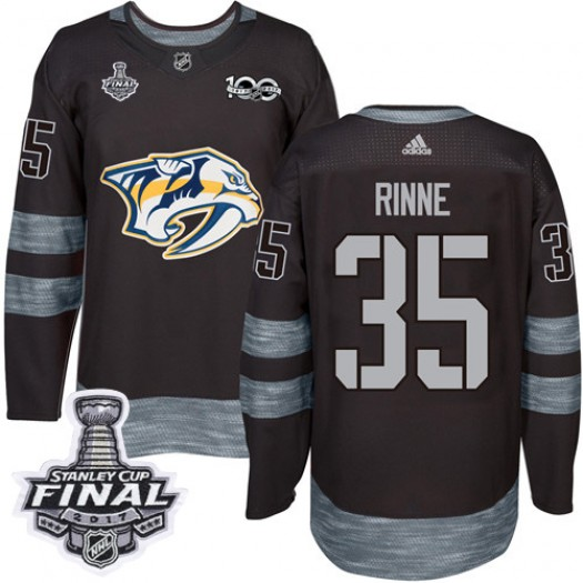 Pekka Rinne Nashville Predators Men's Adidas Authentic Black 1917-2017 100th Anniversary 2017 Stanley Cup Final Jersey