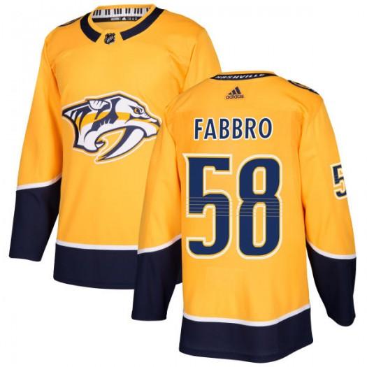 Dante Fabbro Nashville Predators Men's Adidas Authentic Gold Jersey