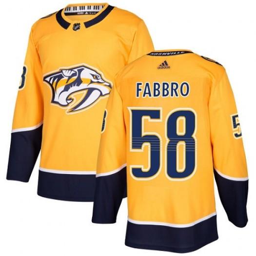 Dante Fabbro Nashville Predators Youth Adidas Authentic Gold Home Jersey