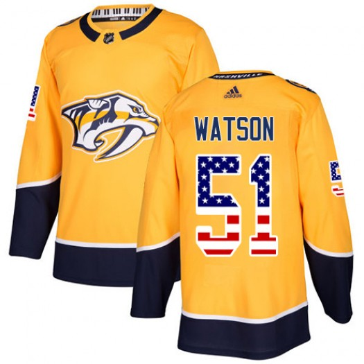 Austin Watson Nashville Predators Men's Adidas Authentic Gold USA Flag Fashion Jersey