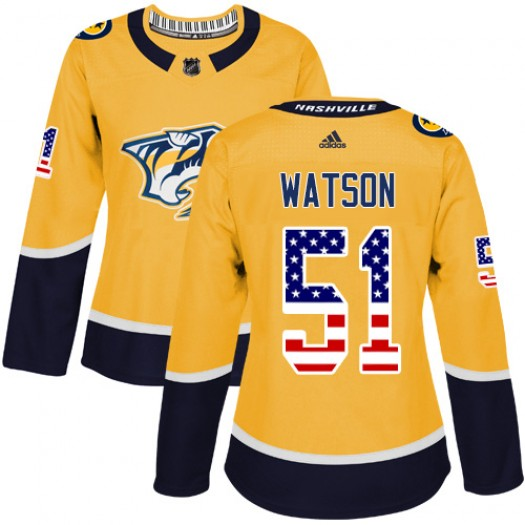 Austin Watson Nashville Predators Women's Adidas Authentic Gold USA Flag Fashion Jersey