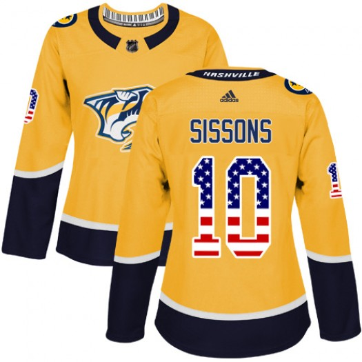 Colton Sissons Nashville Predators Women's Adidas Authentic Gold USA Flag Fashion Jersey