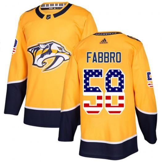 Dante Fabbro Nashville Predators Men's Adidas Authentic Gold USA Flag Fashion Jersey