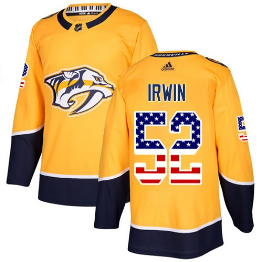 Matt Irwin Nashville Predators Youth Adidas Authentic Gold USA Flag Fashion Jersey