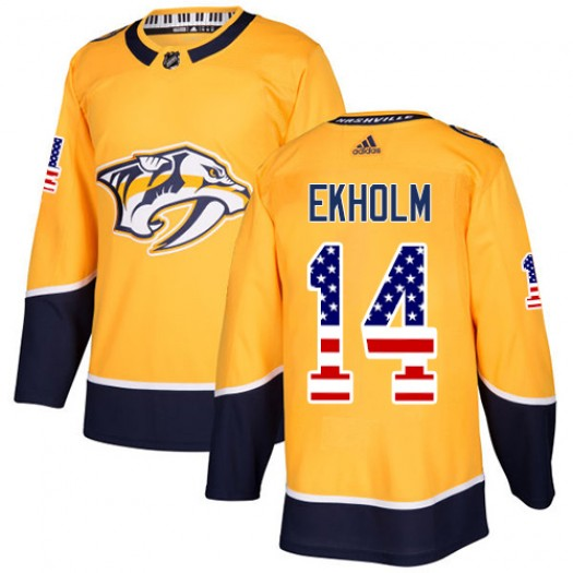 Mattias Ekholm Nashville Predators Men's Adidas Authentic Gold USA Flag Fashion Jersey