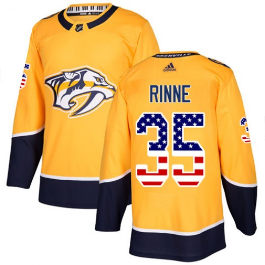 Pekka Rinne Nashville Predators Men's Adidas Authentic Gold USA Flag Fashion Jersey