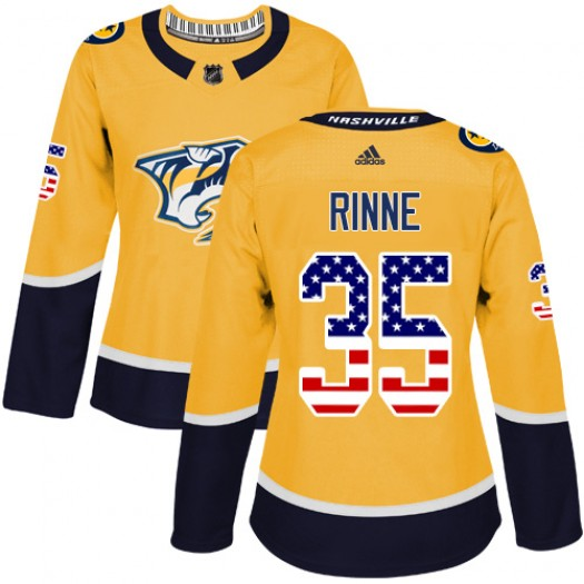 Pekka Rinne Nashville Predators Women's Adidas Authentic Gold USA Flag Fashion Jersey
