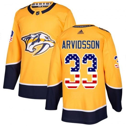Viktor Arvidsson Nashville Predators Men's Adidas Authentic Gold USA Flag Fashion Jersey