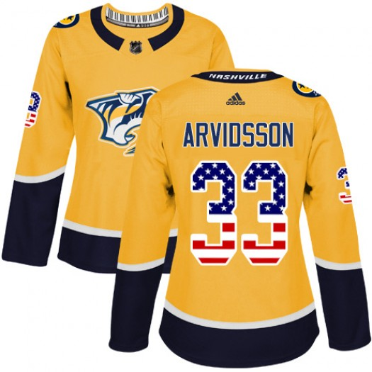 Viktor Arvidsson Nashville Predators Women's Adidas Authentic Gold USA Flag Fashion Jersey